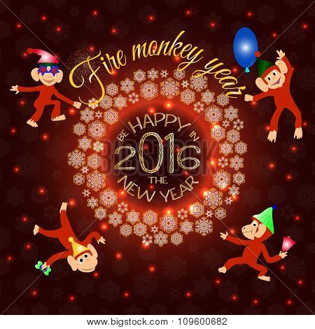 Merry Christmas and Happy New Year 2016 greeting card with beautiful fireworks in the night. Shining