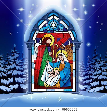 Illuminated stained glass window depicting Christmas scene in gothic frame against the night winter spruce forest in snow under starry sky. Vector Illustration