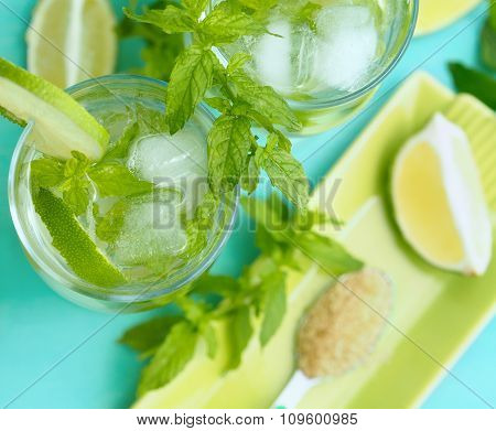 Freash mojito cocktail for two with ingredients