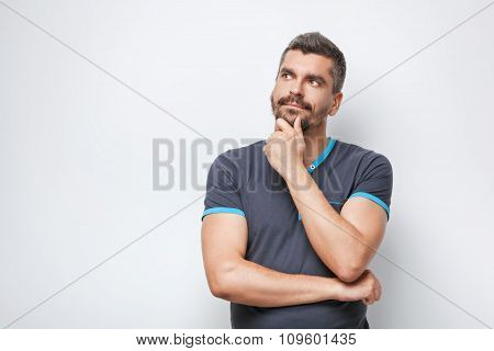 Concept for emotional man with beard