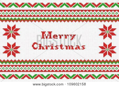 Red And White Knitted Christmas Background