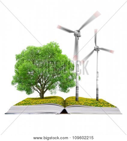 Ecological book with tree and wind turbines isolated on white background. Clean energy.