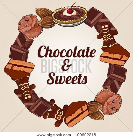 Circle of chocolate and other sweets, delicious label for your design needs