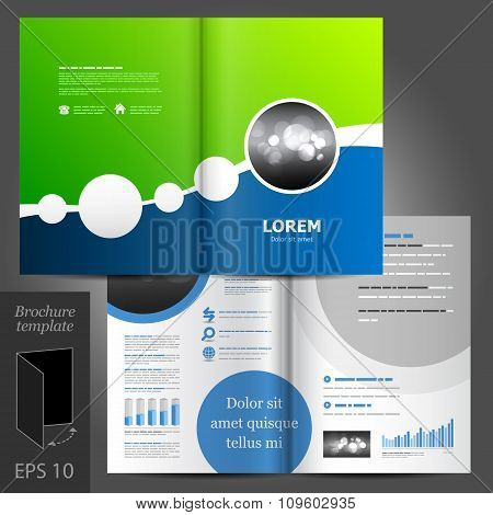 Brochure Template Design With Round Elements