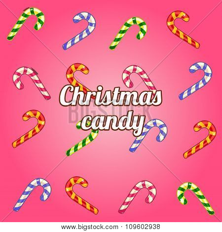 Christmas background with a collection of candy cane