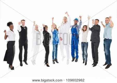 Portrait Of People With Various Occupations Cheering