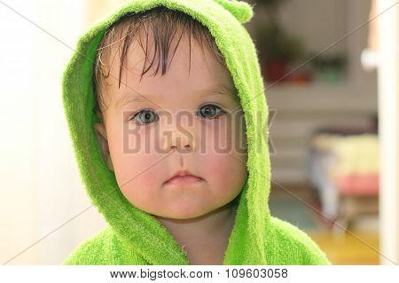 Baby After Bath Portarit In Bathrobe