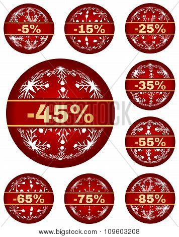 winter sale tags with 5 - 85 percent text