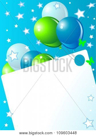 Blue birthday card with balloons
