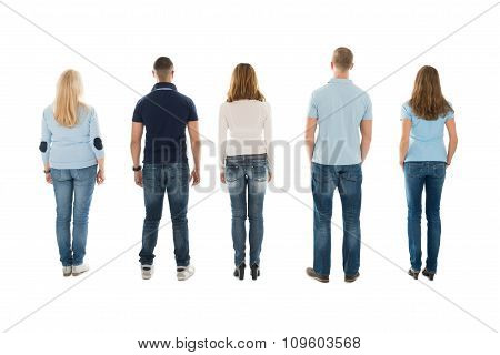 Rear View Of People Standing In Row