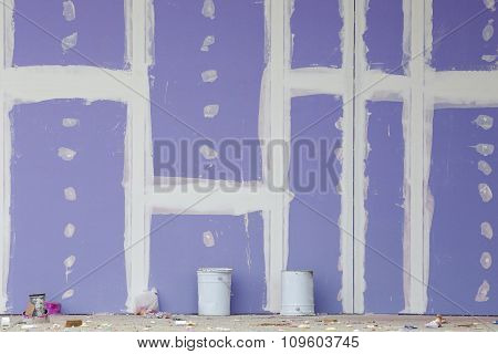 Gypsum Wall Under Construction