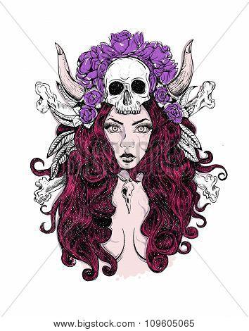 tattoo woman SKULL