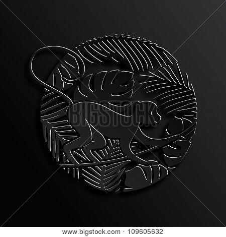 Decorative Monkey in Jungle in Black Color