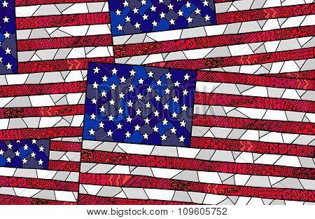 United States Flag Zentangle Background 1