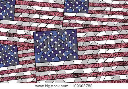 United States Flag Zentangle Background 3