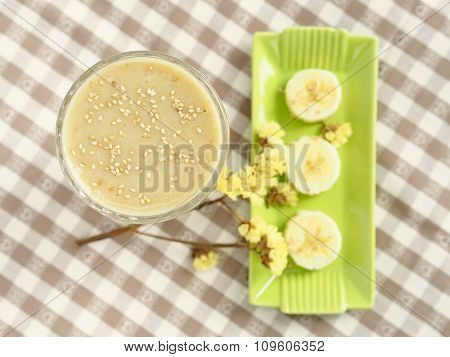 Healthy soy milk smoothie with banana