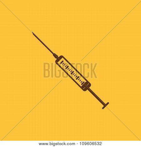 The syringe icon. Syringe symbol. Flat