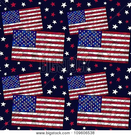 United States Flag Zentangle Pattern 4
