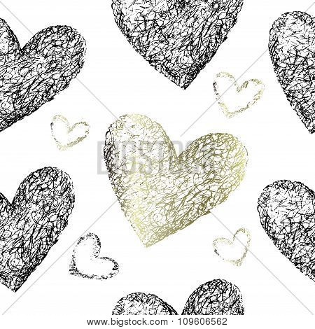 Gold and black hearts seamless pattern.