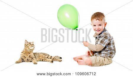 Happy boy and cat Scottish Straight