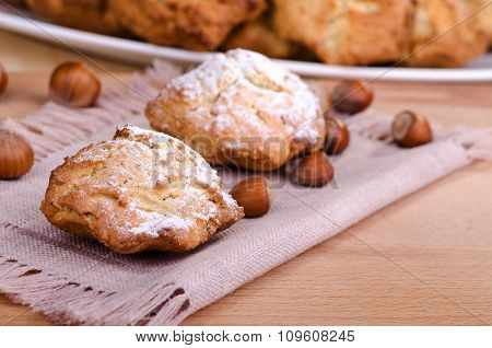 Nut Cakes Sprinkled With Powdered Sugar