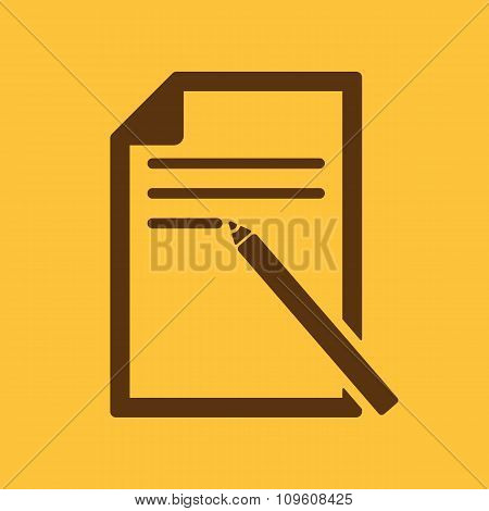 The note paper icon. Text file symbol. Flat
