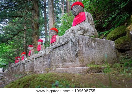 Wide angle of statues in Nikko