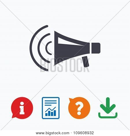 Megaphone sign icon. Loudspeaker strike symbol.