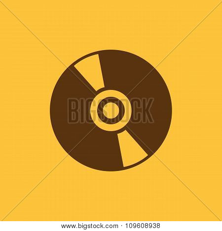 The cd icon. Compact disk symbol. Flat