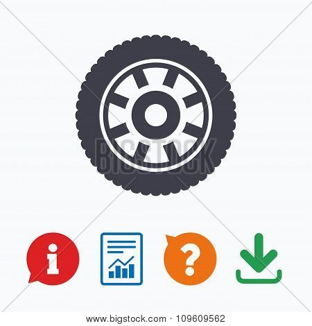 Car wheel sign icon. Circular transport component.