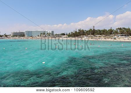 Popular touristic place: Nissi beach, Agia Napa, Cyprus.