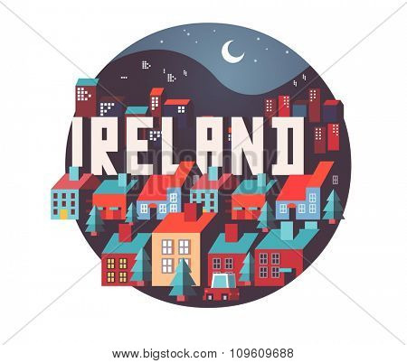 Ireland in europe is a beautiful country to visit. vintage vector illustration.