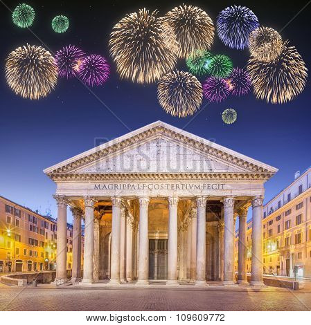 Beautiful fireworks under Pantheon, Rome, Italy