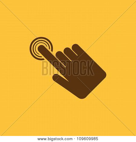 The hand click icon. Cursor symbol. Flat