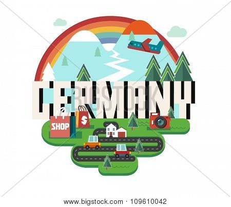 Germany in europe is a beautiful country to visit. vintage vector illustration.