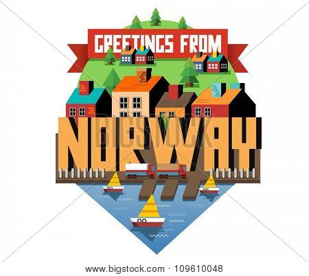 Norway in europe is a beautiful country to visit. vintage vector illustration.