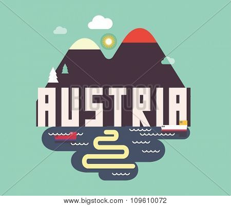 Austria in europe is a beautiful country to visit. vintage vector illustration.