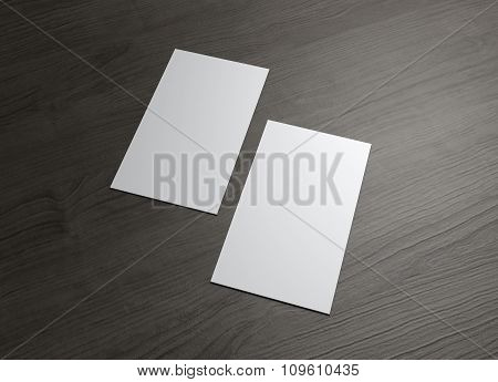 Vertical Business Cards On Wood Table