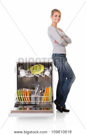 Confident Woman With Dishwasher