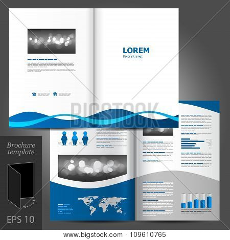 Brochure Template Design With Blue Waves