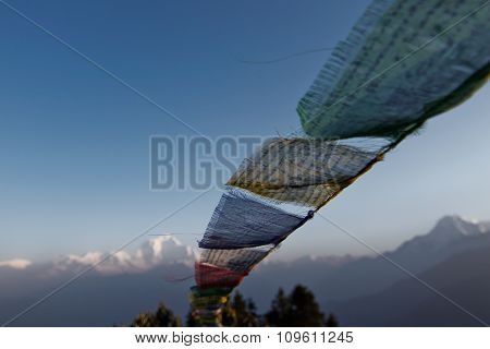Prayer Flag At Poon Hill in Nepal  .
