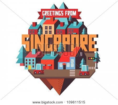 Singapore in asia is a beautiful country to visit. vintage vector illustration.