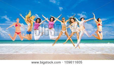 Active Girls On a Beach