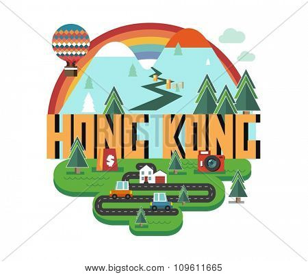 Hong Kong in china is a beautiful country to visit. vintage vector illustration.