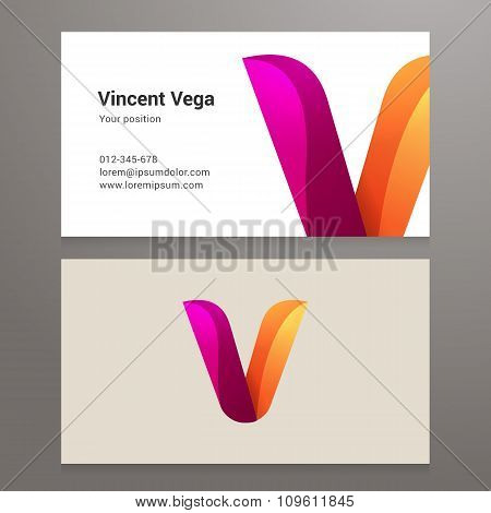Modern Letter V Twisted Business Card Template