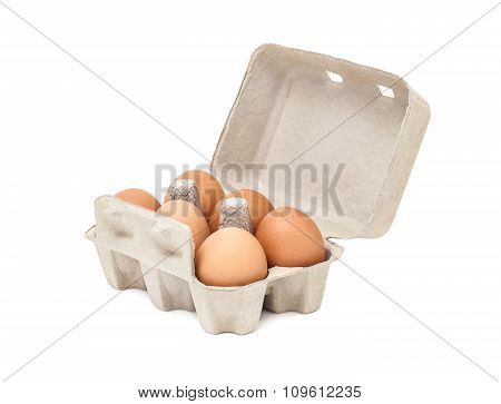 Egg In Packaging Paper Mould Box Isolated On White Background