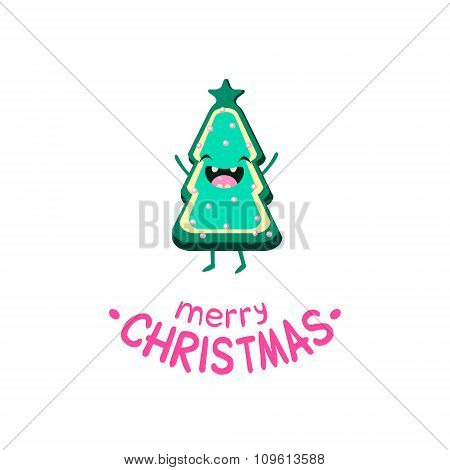Cookie Christmas tree Vector Cheerful  card