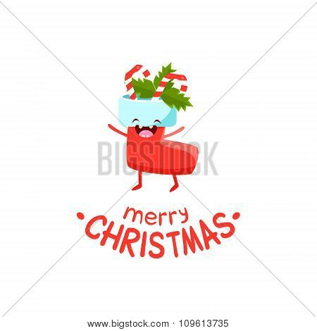 Sock with gifts Vector Cheerful Christmas card