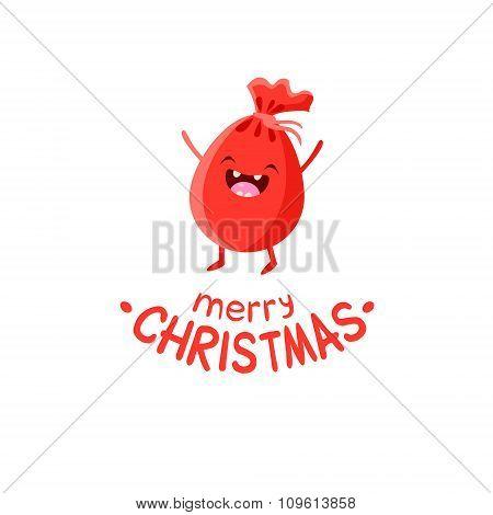 Bag of gifts Vector Cheerful Christmas card.