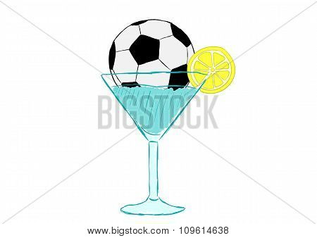 Football cocktail with a ball